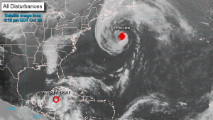 Tropical Depression 28 can be seen in the bottom right of this image from the U.S. National Hurricane Center.