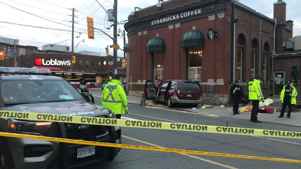 Toronto police are investigating a fatal crash at the intersection of Dupont and Christie streets. (CP24/Beatrice Vaisman)