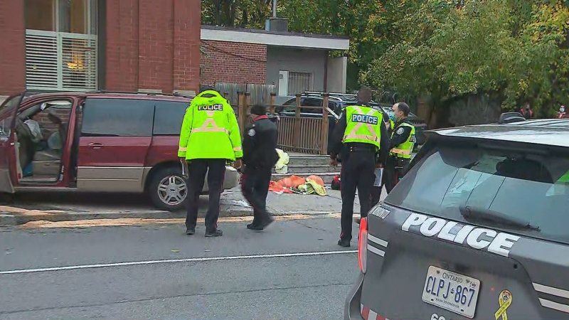 Van kills pedestrian after mounting sidewalk in Toronto