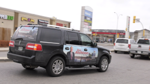 Supporters of mayoral candidate Don Atchison hold car rally in Saskatoon on Oct. 24 (Chad Leroux/CTV Saskatoon)