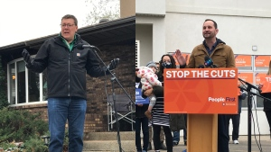 Scott Moe (left) and Ryan Meili (right) hit the road for the final weekend of campaigning for the Saskatchewan Provincial Election. (Stefanie Davis/CTV News)