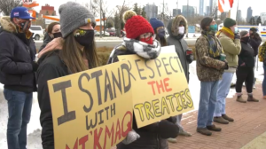 A rally was held in Edmonton on Saturday to show solidarity with Mi'kmaq fisherman.