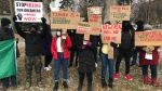 Nigerian-Canadians gathered in Edmonton on Saturday to protest the controversial Special Anti-Robbery Squad in Nigeria. (Galen McDougall/CTV News Edmonton)