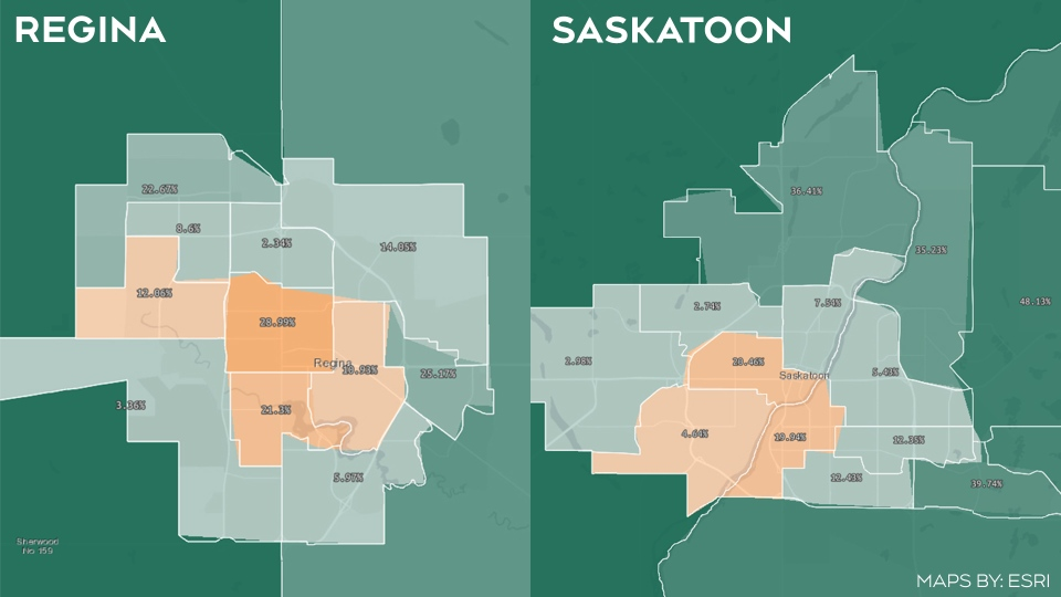 Several constituencies in Regina and Saskatoon were decided by less than 10 per cent of the vote during the 2016 Saskatchewan Election. (Maps by: Esri)