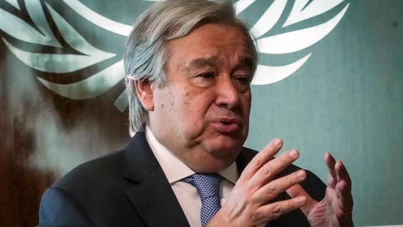 United Nations Secretary-General António Guterres speaks during an interview, Wednesday Oct. 21, 2020, at UN headquarters. (AP Photo/Bebeto Matthews)