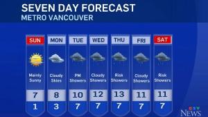 Saturday weather forecast