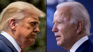 While the BCLC's odds favour Democratic nominee Joe Biden defeating President Donald Trump on Nov. 3, the lottery corporation says most B.C. bettors on PlayNow.com have put their money on Trump to win a second term. (File photo)