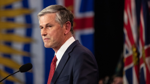 B.C. Liberal Leader Andrew Wilkinson pauses while reading a statement at provincial election night headquarters, in Vancouver, B.C., Saturday, Oct. 24, 2020. (Darryl Dyck / THE CANADIAN PRESS)