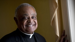 FILE - This Sunday, June 2, 2019, file photo shows Washington D.C. Archbishop Wilton Gregory posed for a portrait following mass at St. Augustine Church in Washington. (AP Photo/Andrew Harnik, File)