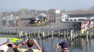 Stunt driver Travis Pastrana successfully jumps a canal in Annapolis, Maryland. (Twitter/CNN)