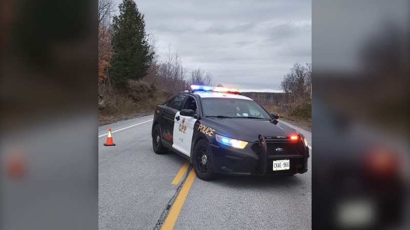 In a Tweet early Sunday morning, police confirmed a section of highway between Limit St. and Townline Rd. was closed due to a serious motor vehicle collision. (Twitter photo/OPP North East Region)