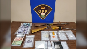 Photo shows evidence recovered in Oct. 22 search and seizure in Kirkland Lake, Ont. (Twitter photo/ OPP North East Region)