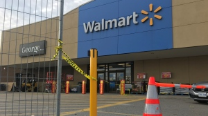 A Walmart on Ottawa Street remains closed after a fire inside caused significant damage. Waterloo regional police have charged two people in connection to the fire and two more at locations in the area. (Johnny Mazza - CTV Kitchener) (Oct. 25, 2020)