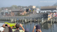 Stunt driver Travis Pastrana successfully jumps a canal in Annapolis, Maryland on Oct. 22. 2020. (Credit: Ward Carroll via Storyful)
