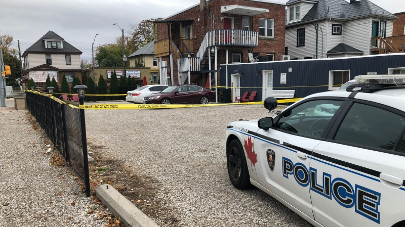 Windsor police held the scene at Wyandotte Street East and Gladstone Avenue in Windsor, Ont. on Sunday, Oct. 25, 2020. (Angelo Aversa/CTV Windsor)