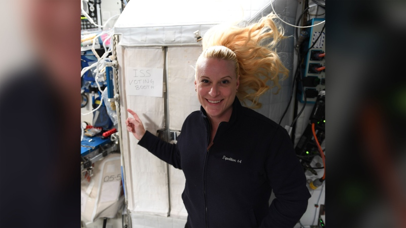 NASA astronaut Kate Rubins voted from the International Space Station last week. (NASA/CNN)