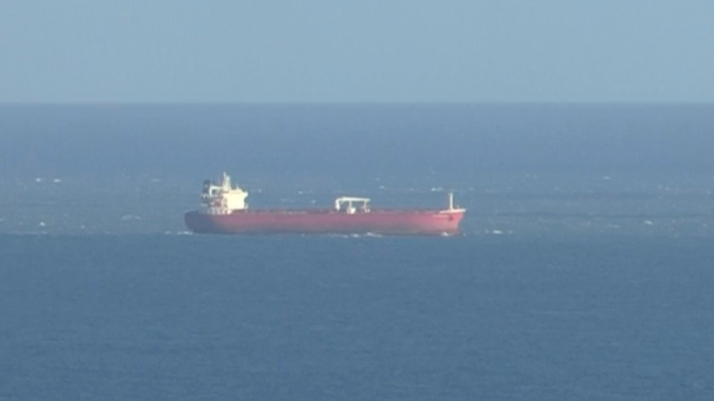 In this image taken from SKY video, shows a tanker at sea, as filmed from land on Sunday Oct. 25, 2020. (SKY News via AP)