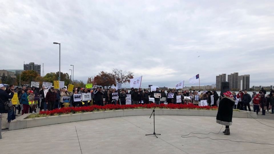 Protestors rallied against COVID-19 protocols in downtown Windsor, Ont. on Sunday, Oct. 25, 2020. (Angelo Aversa/CTV Windsor)