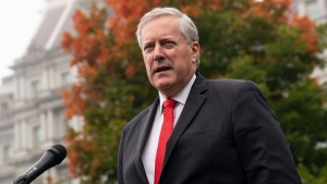 White House chief of staff Mark Meadows speaks with reporters at the White House, Wednesday, Oct. 21, 2020, in Washington. (AP Photo/Alex Brandon)