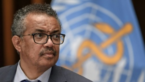 The head of the World Health Organization, Tedros Adhanom Ghebreyesus, can be seen in this image. (AFP)