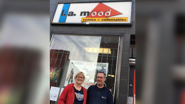 Gordon Mood and Carol Vandenberg stand in front of their store, L.A. Mood Comics & Games (Source: Carol Vandenberg)
