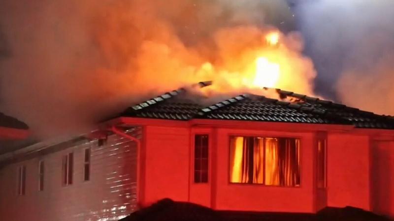 Narrow escape from massive house fire