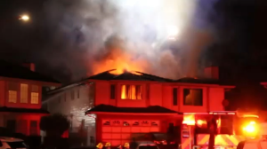 A Surrey family narrowly escaped a massive fire that broke out in their home in Newton in the early hours of Sunday morning. (CTV)