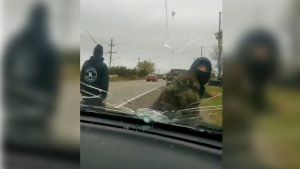 OPP video captures incident at the Caledonia blockade.(Source: OPP)