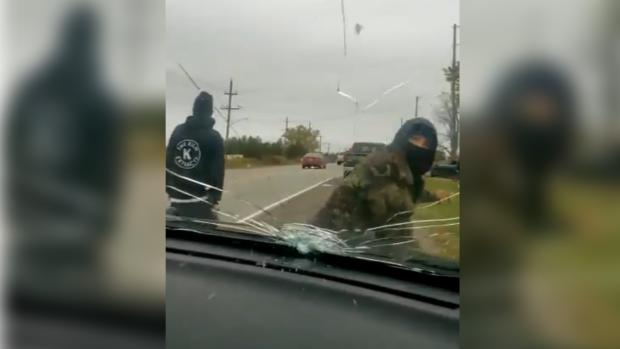 OPP video captures incident at Caledonia blockade, Friday October 23, 2020 (Source: OPP)