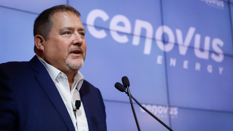 Cenovus CEO Alex Pourbaix announces a multi-year initiative focused on Indigenous communities near the company's oil sands operations in northern Alberta, at a news conference in Calgary, Alta., Thursday, Jan. 30, 2020. Cenovus, Swiss Chalet and Harvey's owner Recipe Unlimited Corp., Mr. Sub and ManchuWOK owner MTY Food Group Inc., oil and gas company Arc Resources Ltd. and Chorus Aviation Ltd. all suspended or cut their dividends — a fluctuating portion of a company's earnings paid to shareholders as a way of rewarding them for their financial support.THE CANADIAN PRESS/Jeff McIntosh