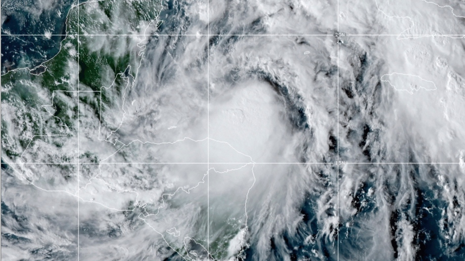This satellite image provided by the National Oceanic and Atmospheric Administration shows Tropical Storm Zeta, Sunday, Oct. 25, 2020, at 2110 GMT (5:10 p.m. ET). (NOAA/NESDIS/STAR via AP)