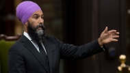 NDP leader Jagmeet Singh rises during Question Period in the House of Commons Thursday October 22, 2020 in Ottawa. THE CANADIAN PRESS/Adrian Wyld
