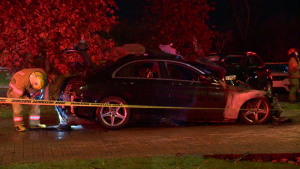 Arson is suspected in a Mercedes Benz that went up in flames early Monday morning / Cosmo Santamaria, CTV News Montreal