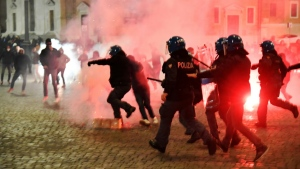 Italian police officers clashed with neo-fascists over the weekend over virus restrictions. (AFP)