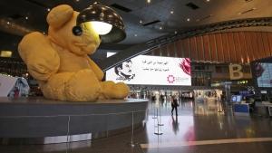 A giant teddy bear adorns the Hamad International Airport in Doha, Qatar, on May 6, 2018. (Kamran Jebreili / AP)