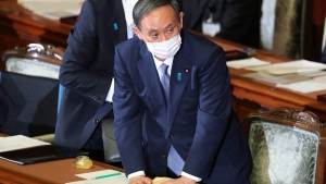 Japanese Prime Minister Yoshihide Suga at the upper house of parliament in Tokyo, on Oct. 26, 2020. (Koji Sasahara / AP)