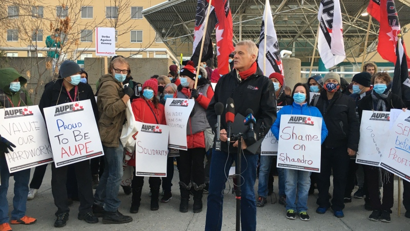 AUPE members across the province walked off the job Monday morning to protest the province's plans to cut jobs and outsource work to save money.