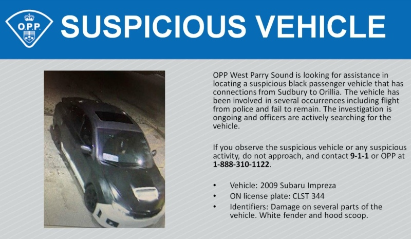 Ontario Provincial Police in Parry Sound are asking the public to keep an eye out for a suspicious vehicle - a Black Subaru with a white fender and hood scoop, license plate No. CLST 344. (File)