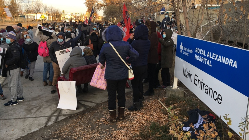 AUPE members at the Royal Alexandra Hospital were among the workers across the province who walked off the job Monday morning.