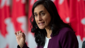 Public Services and Procurement Minister Anita Anand responds to a question during a news conference Monday October 26, 2020 in Ottawa. THE CANADIAN PRESS/Adrian Wyld