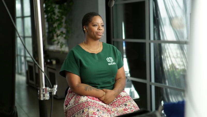 "This image released by PBS shows activist and Black Lives Matter co-founder Patrisse Cullors during the filming of the documentary ""Not Done: Women Remaking America,"" debuting Tuesday on PBS stations. (PBS via AP)"