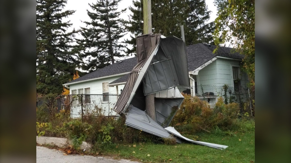 Damage left behind after a Tornado touched down in Thornbury on Friday, October 23, 2020 (Courtesy: Northern Tornadoes Project)