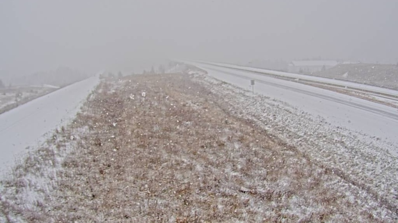 A Trans-Canada Highway camera between Hartland, N.B., and Grand Falls, N.B., shows snow adding up on Oct. 26, 2020. (New Brunswick Department of Transportation and Infrastructure Renewal)