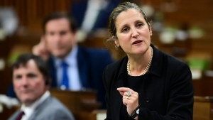 Freeland blasts O'Toole for 'partisan' comments