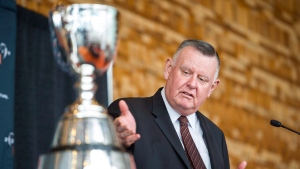 David Braley, the owner of the B.C. Lions Football Club, speaks during a press conference introducing the program of events for the 102nd Grey Cup Festival in Vancouver, B.C., on Wednesday, September 17, 2014. The Hamilton businessman who owned three CFL franchises, has died. He was 79.THE CANADIAN PRESS/Jimmy Jeong