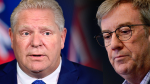 Ontario's premier Doug Ford (left) is calling out Ottawa mayor Jim Watson (right), suggesting he agreed with new lockdowns privately before making public comments to the contrary.