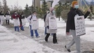 Hospital workers walk off the job