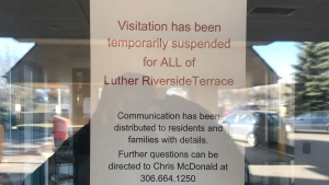 A notice posted at Luther Riverside Terrace on Oct. 26, 2020.
