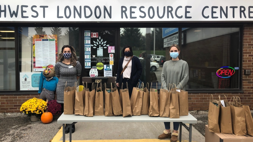 Western University students distribute care packs to various organization helping families in need during the pandemic in London, Ont. on Monday, Oct. 26, 2020. (Jordyn Read / CTV News)
