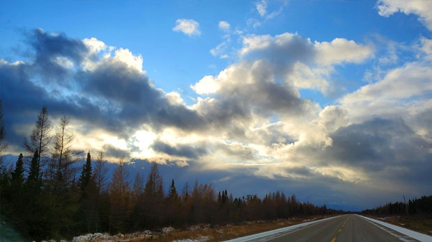 From snow to this beautiful sky on Highway 6. Photo by Nadine Hart.